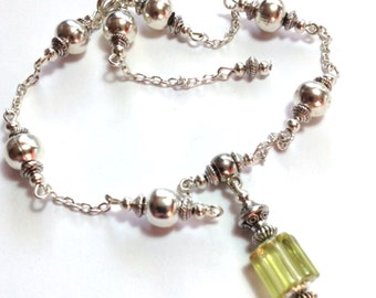 Yellow Anklet, Ankle Bracelet, Glass Bead, ANY SIZE Length, Silver Tone (MTO)