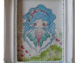 Mini watercolor in a frame, Baby Blue Fairy
