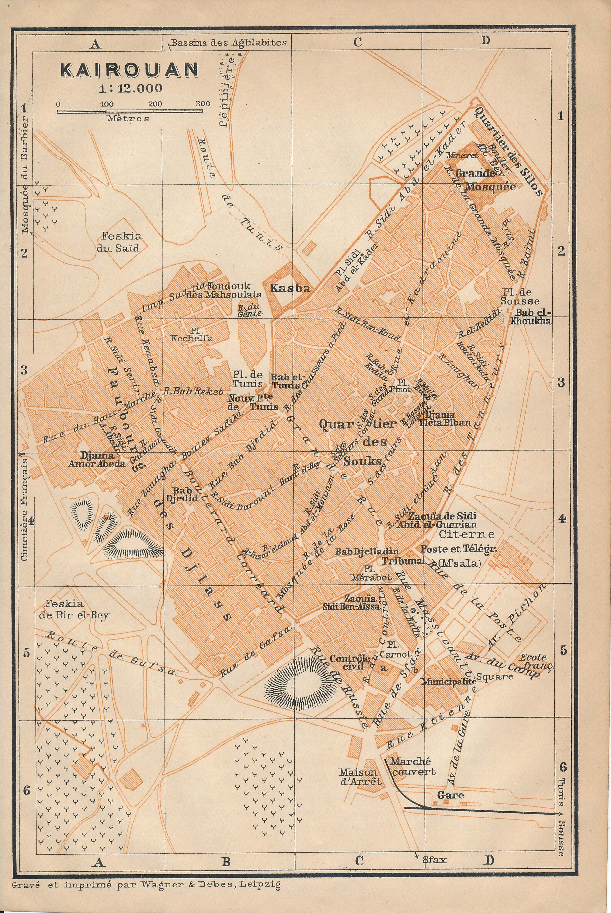 1911 Kairouan Tunisia Antique Map