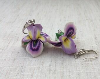 Flower earrings Flower de luce Flower jewelry Iris Summer earrings Handmade jewelry