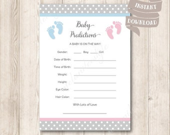 Baby Predictions Card, Baby Feet, Blue and Pink, Gender Neutral, Baby Shower Party Games Printables, Instant Download