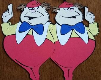 Tweedledum and tweedledee, Alice in Wonderland Tweedles, Tweedles die cut