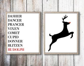 Printable Christmas Wall Prints   Reindeer Art Prints   Rudolph The Red Nose Reindeer   Wall Art   Home Decor   Christmas Art   Holiday Art