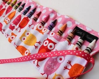 Crayon Roll-Girl Crayon Holder-Owls-Girl Christmas Gift-Girl Stocking Stuffer-Girl Birthday Gift-Girl Owl Gift-Kid Art Accessory