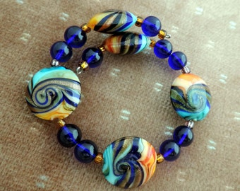 Multi Color Glass Bracelet on Memory Wire