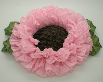 Large Pink Ribbonwork Flower Applique