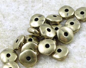 100 Brass Beads - 7mm Antique Brass Nugget Beads - TierraCast Brass Oxide Spacer Beads - Bronze Metal Beads Heishi  (PAS5)