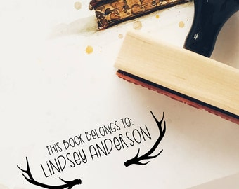 Custom Antler Book Stamp, Gift for Him, Gift for Book Lover, Library Stamp, Book Stamp, This Book Belongs To Stamp, Personalized Stamp, 17B