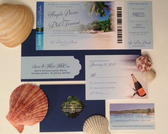 Beach Destination Plane Ticket Wedding Invitation