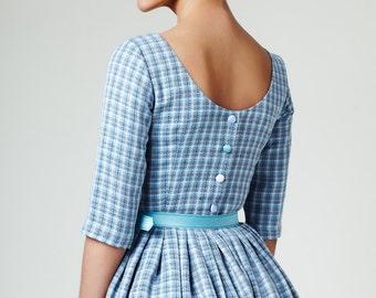 Wedding guest dress 1950s dress 50s dress Blue wedding dress Linen dress Plus size dress Dusty blue dress Modest dress Dress with pockets