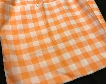 4 Yards of Vintage Coral and White Buffalo Check Cotton Fabric