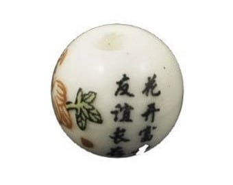10 pearls round porcelain/ceramic DECOR China Asian II 1 cm