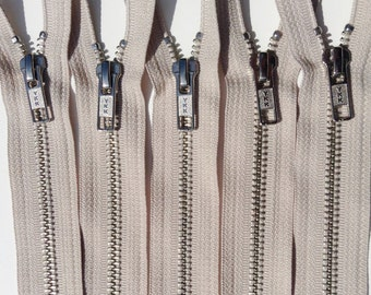Metal Zippers- 9 inch closed bottom ykk nickel teeth zips- (5) pieces - Beige 572- Number 5s