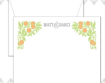 Fruit and Leaves stationery set of 12 cards and envelopes, Lemon stationery, Fruit note cards, modern fruit stationery, Tropical, Garden