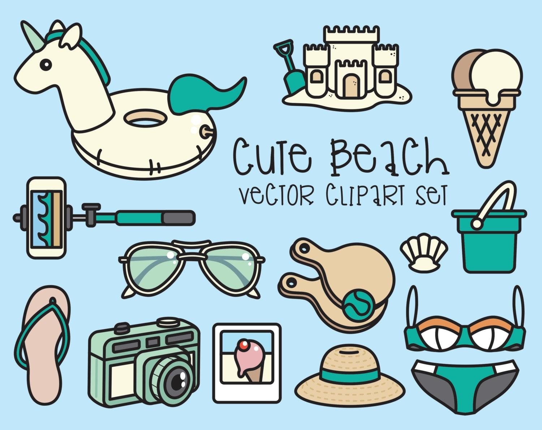 Premium Vector Clipart Cute Beach Clipart Kawaii Beach Day