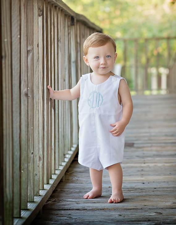 Boys Monogrammed White Pique Jon Jon, Baby, Infant, Toddler Boys