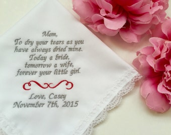Mother of the Bride Embroidered Handkerchief Hankerchief Personalized Wedding Gifts Parents /Free Wedding Handkerchief Gift Box