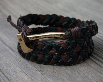 viking black and brown bracelet with ax ,gift for him, mens accessories, mens jewelry, bracelet for man, leather bracelet,scandinavian,norse