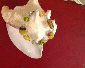 Handmade Bracelet with Lamp Work Funky Beads, Jewelry