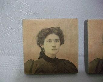 Refrigerator Magnets  -  Vintage Victorian Lady Photo Fridge Magnets  -  Fridge Magnet