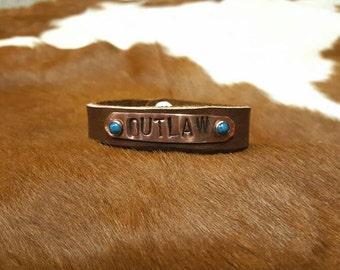 Outlaw copper stamped leather bracelet