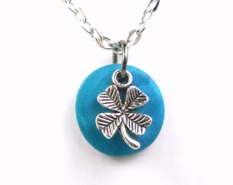 Four Leaf Clover Good Luck Charm Necklace, Teal Lucky Clover Jewelry, Off to College Gift Polymer Clay Jewelry