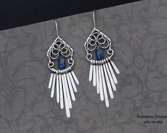 Silver earrings, kyanite wire wrap earrings, kyanite earrings, sterling silver earrings, handmade earrings, dangle earrings