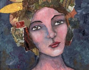 """ORIGINAL ART mixed media 12 x 16 """"Lady Liberty"""""""