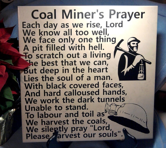 Coal Miner - Gift for Coal Miner - Coal Miner Memorial - Miner's Prayer - WV Coal Miner - Coal Miner Retirement - UMWA Coal Miner