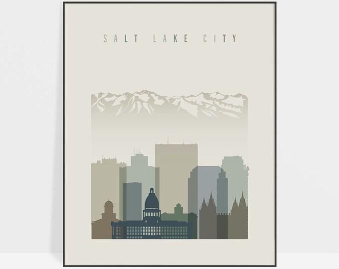 Salt Lake City print, Wall art, Salt Lake City poster, Utah art, Salt Lake City skyline, Travel, Typography art, Home Decor, ArtPrintsVicky