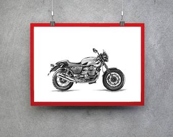 Moto Guzzi Moto Guzzi V7 Guy Gift Motorcycle Gift Motorcycle Print Motorcycle Poster Motorcycle Wall Art Motorcycle Art Teen Boy Room Decor