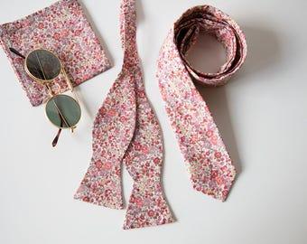 Coral Skinny tie, Liberty of London print tie, peach ties, pink tie, groomsmen tie, self tie bow tie, floral bow tie, wedding tie