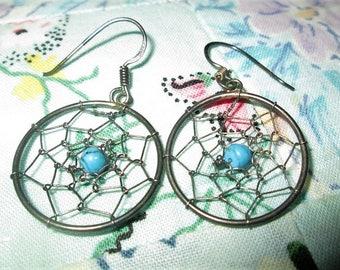 EARRINGS - DREAMCATCHER - TURQUOISE  - Native American - Estate Sale  - 925 - Pierced -  French Hook  - Sterling Silver earrings 403