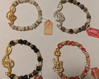 Rhinestone Musical note gemstone or rondelle stretch bracelet