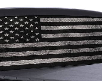 Truck Rear Window Wrap Black & White Distressed American Flag Perforated Vinyl decal