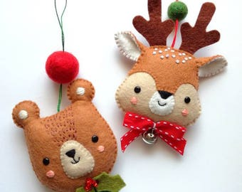 Felt PDF sewing pattern - Bear and Deer ornaments - Christmas decoration, easy sewing pattern, DIY, festive holiday decor, Christmas tree