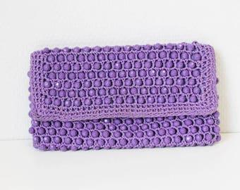 Vintage purple purse, pearl pouch, vintage purse, purple handbag, vintage fashion accessory, clutch purse,  purple clutch bag