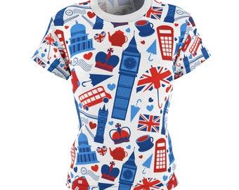 London Art Shirt - Cute London Women's Shirt - All Over Print - British Pattern - Fangirl - Fandom - Sherlock