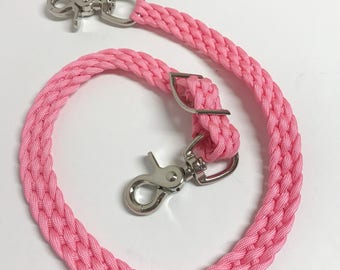 wither strap, breast collar wither strap,  light pink horse tack, paracord tack