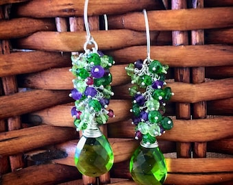 Green quartz and sterling silver cluster earrings