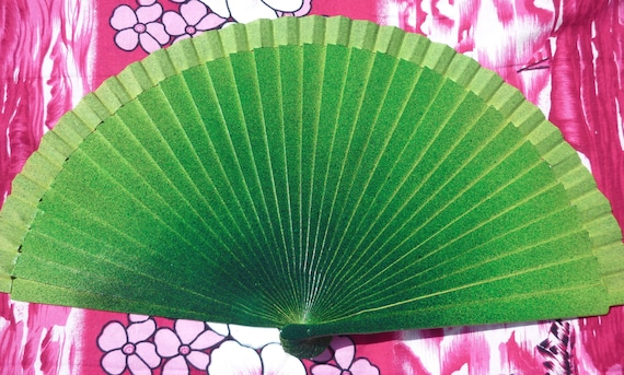 Green Multi Painted Spray Effect SIZE OPTIONS Flamenco Wooden Folding Hand Fan Spanish Painted in Spain by Kate Dengra
