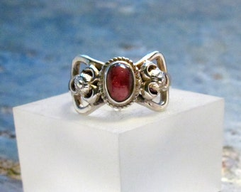 Garnet Ring ~ January Birthstone Ring ~ Sterling Silver Statement Ring ~ Blood Red Cabochon Ring - Size 7