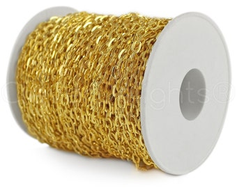 150 Ft - 4x6mm Gold Cable Chain Spool - For Necklaces, Jewelry, Pendants - 4mm x 6mm Oval Links - 50M Bulk Rolo Chain Roll