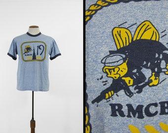 Vintage US Navy Seabees T-shirt Heather Blue Ringer RMCB 19 Mobil Construction Unit - Medium