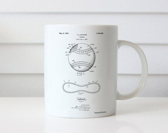 Baseball Stitching Patent, Baseball Decor, Boys Room Decor, Baseball Mug, Sports Decor, PP0143