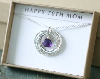 70th birthday gift, February birthstone necklace 70th, amethyst necklace for 70th birthday, gift for mom, grandma - Lilia