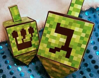 Minecraft Inspired Paper Dreidel - Hanukkah Gift - Dreidel Game - Minecraft Ornament - DIY Dreidel - Instant Download Dreidel - Paper Craft