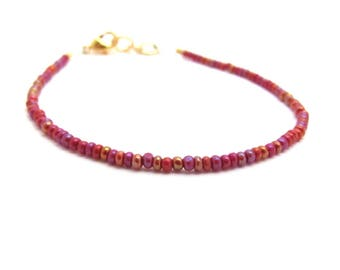 Beaded Berry Red Bracelet Dainty Delicate Stacking Bohemian Design, Handmade Hawaiian Jewelry, Gift Woman Wedding Mother Sister Teen Tween