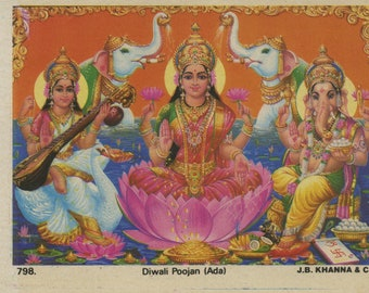Diwali Poojan ... Very small vintage Hindu print