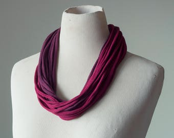 Recycled T-Shirt Necklace Maroon Burgandy